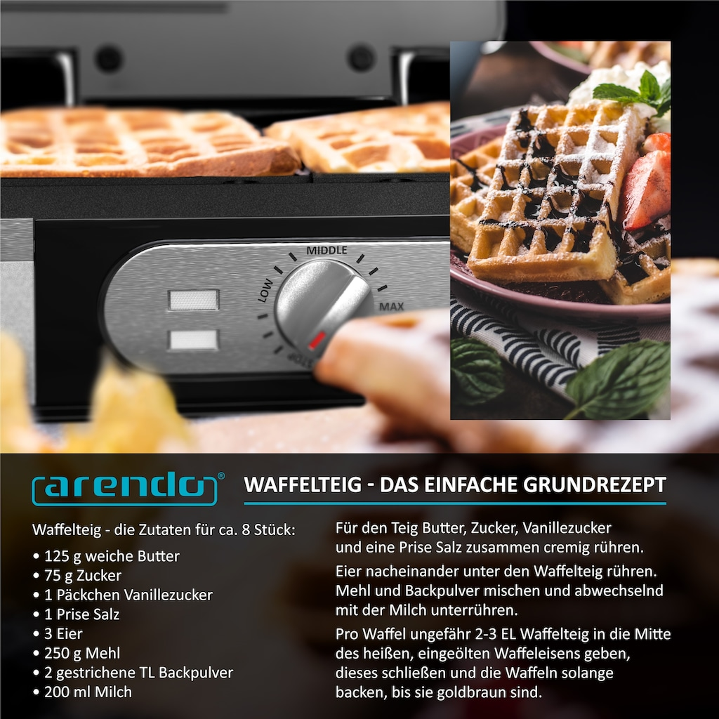 Arendo Waffeleisen »Waffelautomat für 2 Waffeln à 8,5 x 14,5 cm«, 1400 W, 1400 Watt