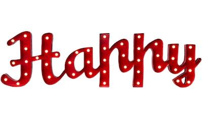 MARQUEE LIGHTS LED Dekolicht »Happy Schriftzug«, 1 St., Warmweiß, Wandlampe, Tischlampe Happy mit 44 festverbauten LEDs - 137cm Breit und 38cm hoch kaufen