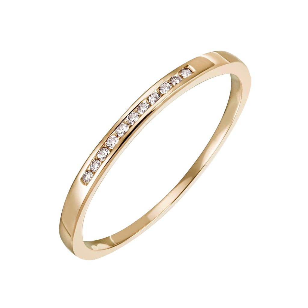 Firetti Diamantring »Feminin, ca. 1,80 mm breit, Kanalfassung, Glanz, massiv«, mit Brillanten
