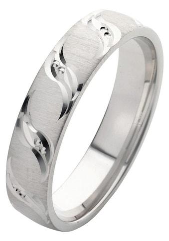 Firetti Trauring mit Gravur »rhodiniert, quer gebürstet, Diamantschnitt in Wellenform, teilweise bicolor, 5,0 mm breit« kaufen