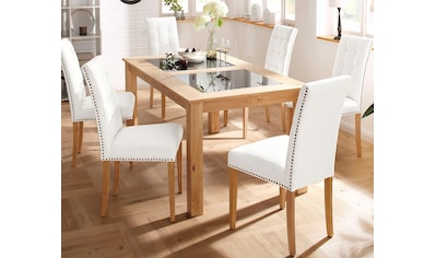 Home affaire Esstisch »Zava«, in 2 Größen, mit Glaseinsatz, aus massivem Akazienholz kaufen