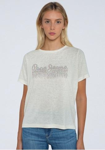 Pepe Jeans Kurzarmshirt »DAVINIA«, mit glitzerndem Marken-Logo-Print im Brustbereich kaufen