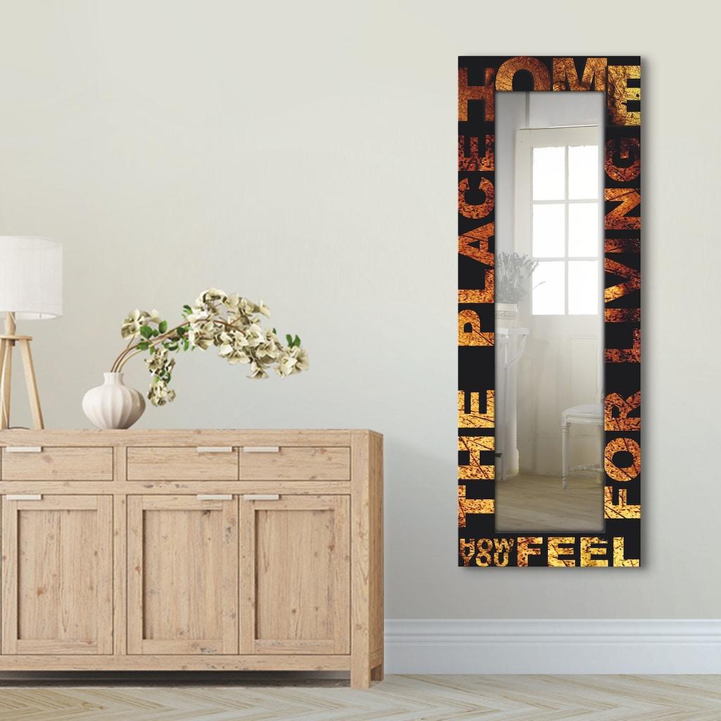 Artland Wandspiegel »Der Platz zum Leben«, gerahmter Ganzkörperspiegel mit Motivrahmen, geeignet für kleinen, schmalen Flur, Flurspiegel, Mirror Spiegel gerahmt zum Aufhängen