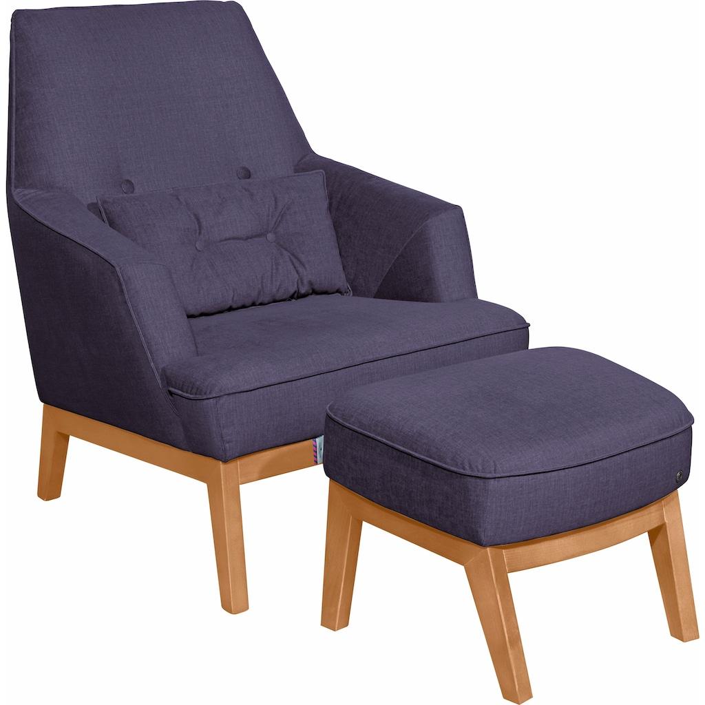 TOM TAILOR Sessel »COZY«, im Retrolook, mit Kedernaht und Knöpfung, Füße Buche natur