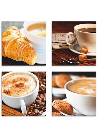 Artland Leinwandbild »Kaffeetassen und Zeitung, Milchkaffee«, Getränke, (4 St.) kaufen