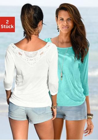 Beachtime 3/4-Arm-Shirt, mit tollem Spitzendetail am Rücken kaufen