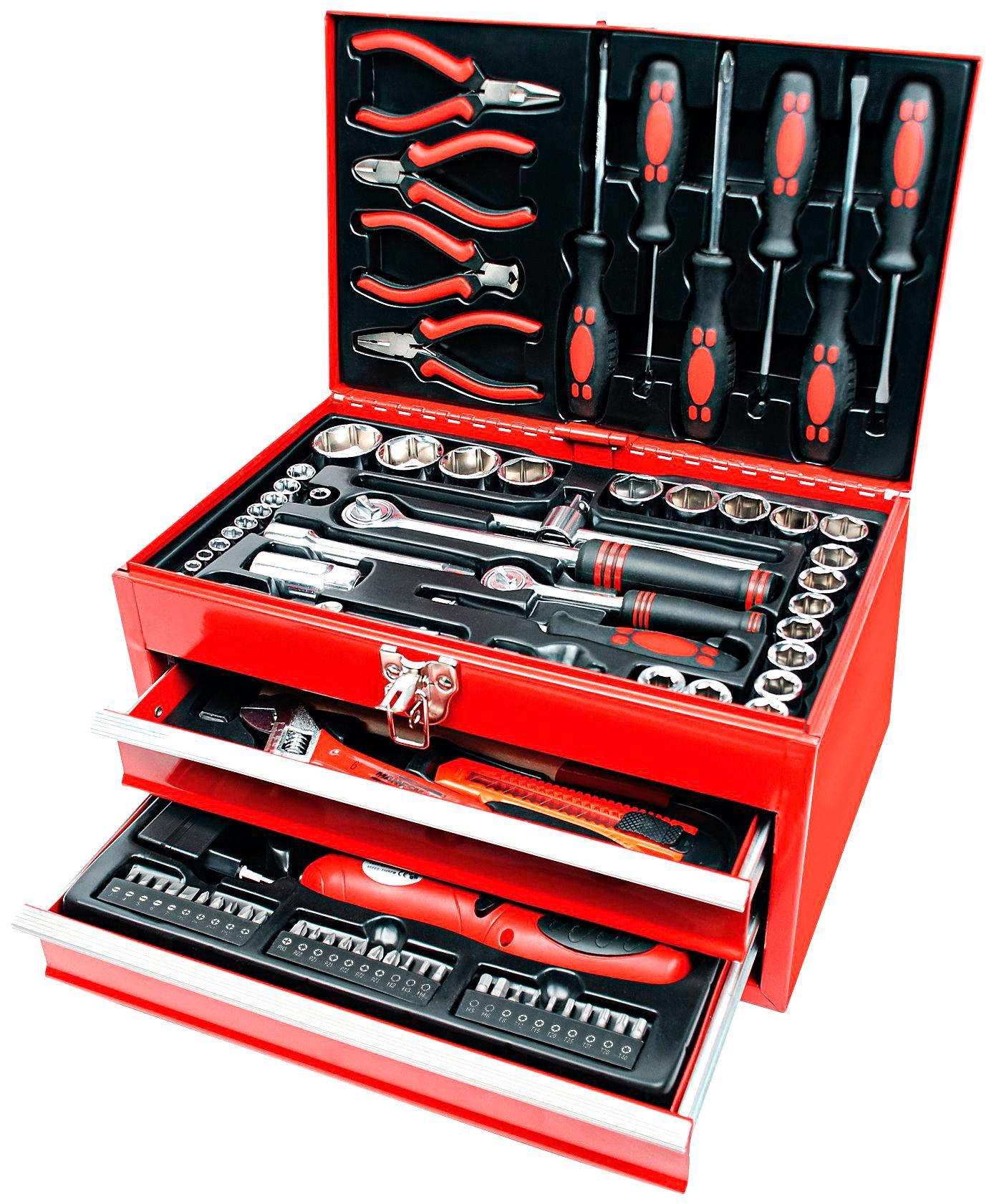Brueder Mannesmann Werkzeuge Werkzeugbox »155-tlg.« | Baumarkt > Werkzeug > Werkzeug-Sets | Rot | BRUEDER MANNESMANN WERKZEUGE