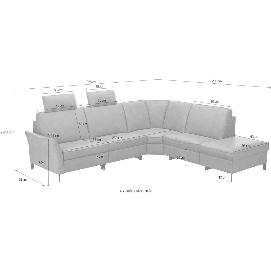 himolla Ecksofa »1920«, ein oder zwei integrierte Relaxsitze, Relax-Funktions-Ecke, Ottomane rechts oder links mit Stauraum, Armlehen verstellbar