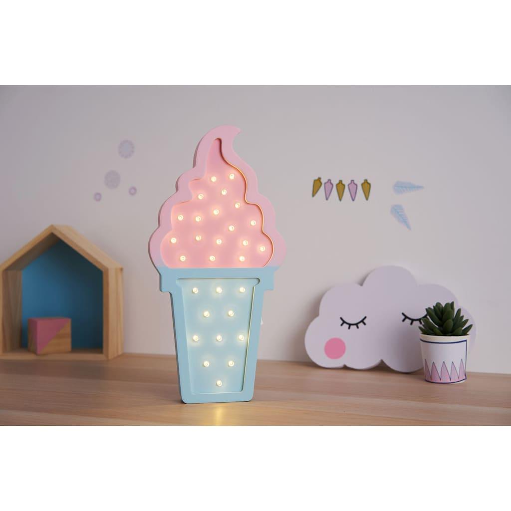 Pauleen Wandleuchte »Lovely Ice Cream«, Warmweiß, Eistüte, Rosa/Blau/ Holz