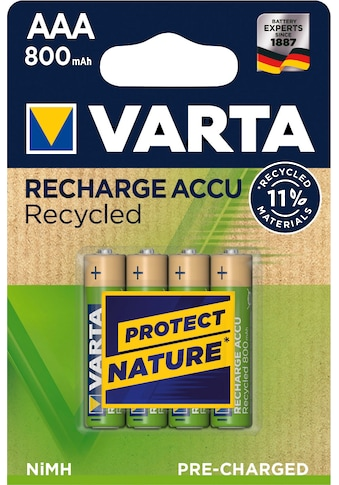 VARTA Batterie »RECHARGE ACCU RECYCLED AAA 800mAh BLI 4«, 1,2 V, (4 St.) kaufen