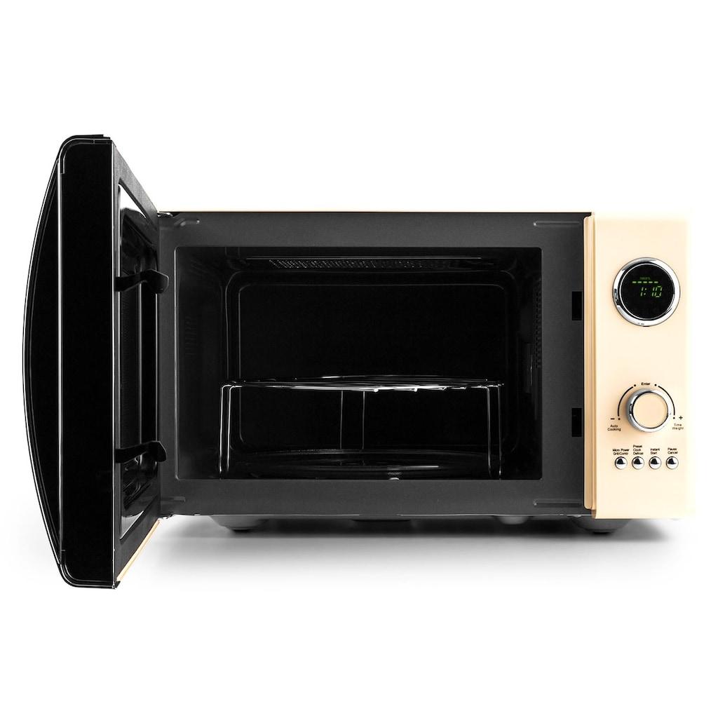 Klarstein 2in1 Mikrowellen-Ofen Retro mit Grillfunktion Grillrost 23L