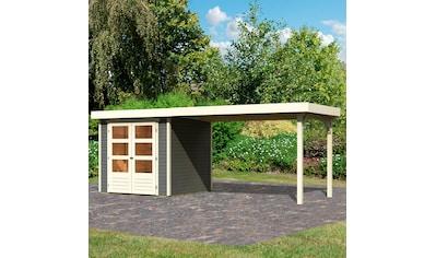 KARIBU Set: Gartenhaus »Arnis 2«, BxT: 505x238 cm, mit Anbaudach kaufen