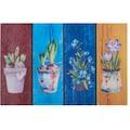 Home affaire Fußmatte »Blumen«, rechteckig, 6 mm Höhe, Schmutzmatte, In- und Outdoor geeignet