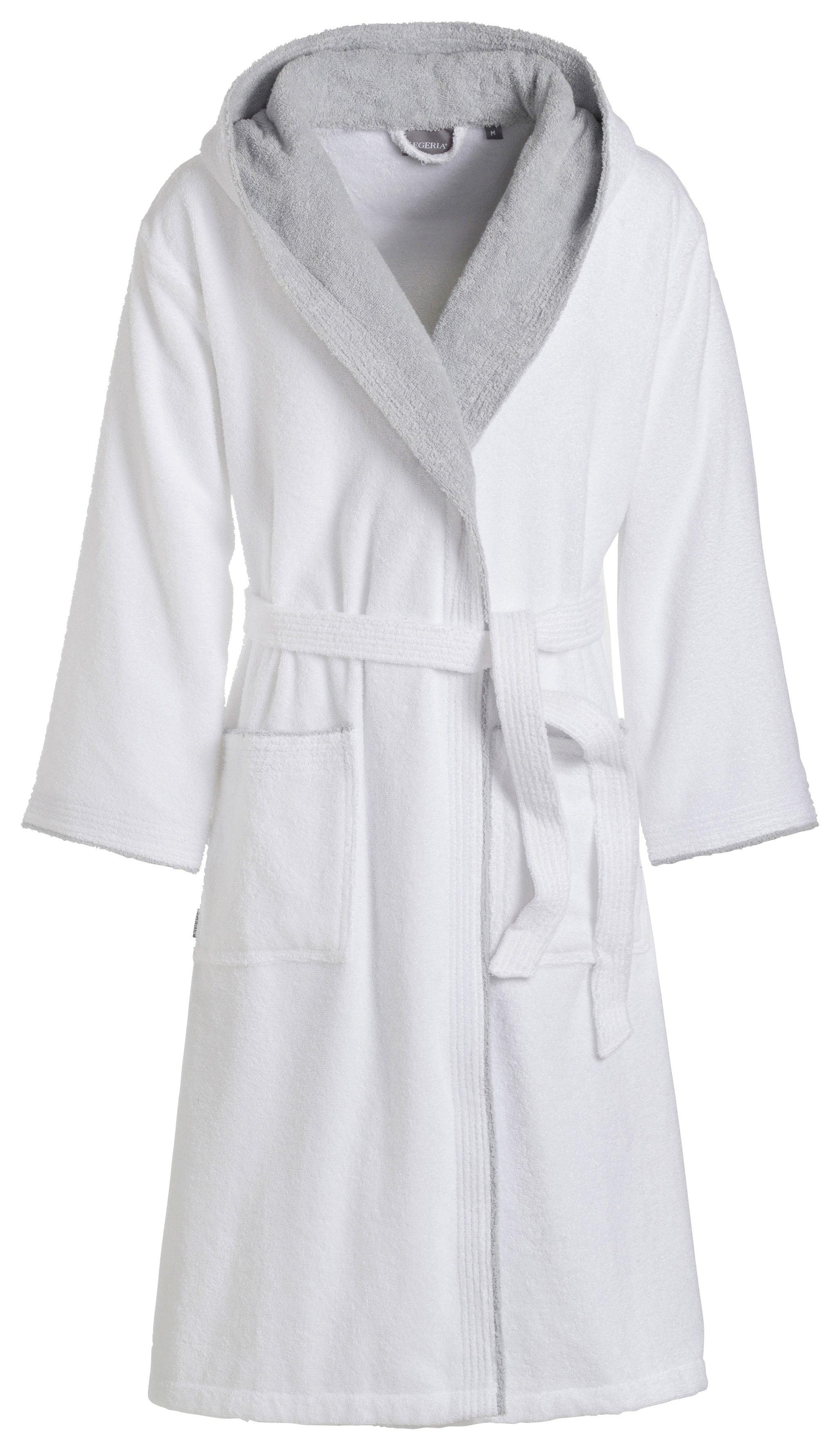 Unisex-Bademantel, Egeria, »Cairo«, farblich abgesetzte Kapuze | Bekleidung > Wäsche > Bademäntel | Weiß | EGERIA