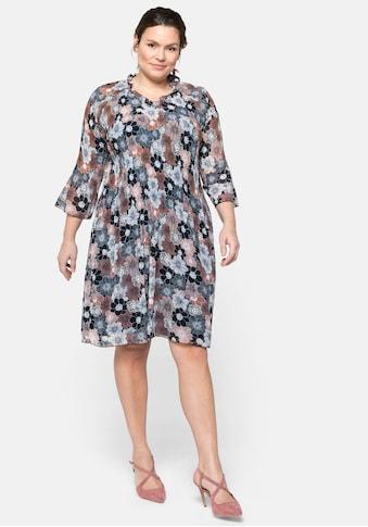 Sheego Chiffonkleid, mit Blumendruck, Plissee und Rüsche kaufen