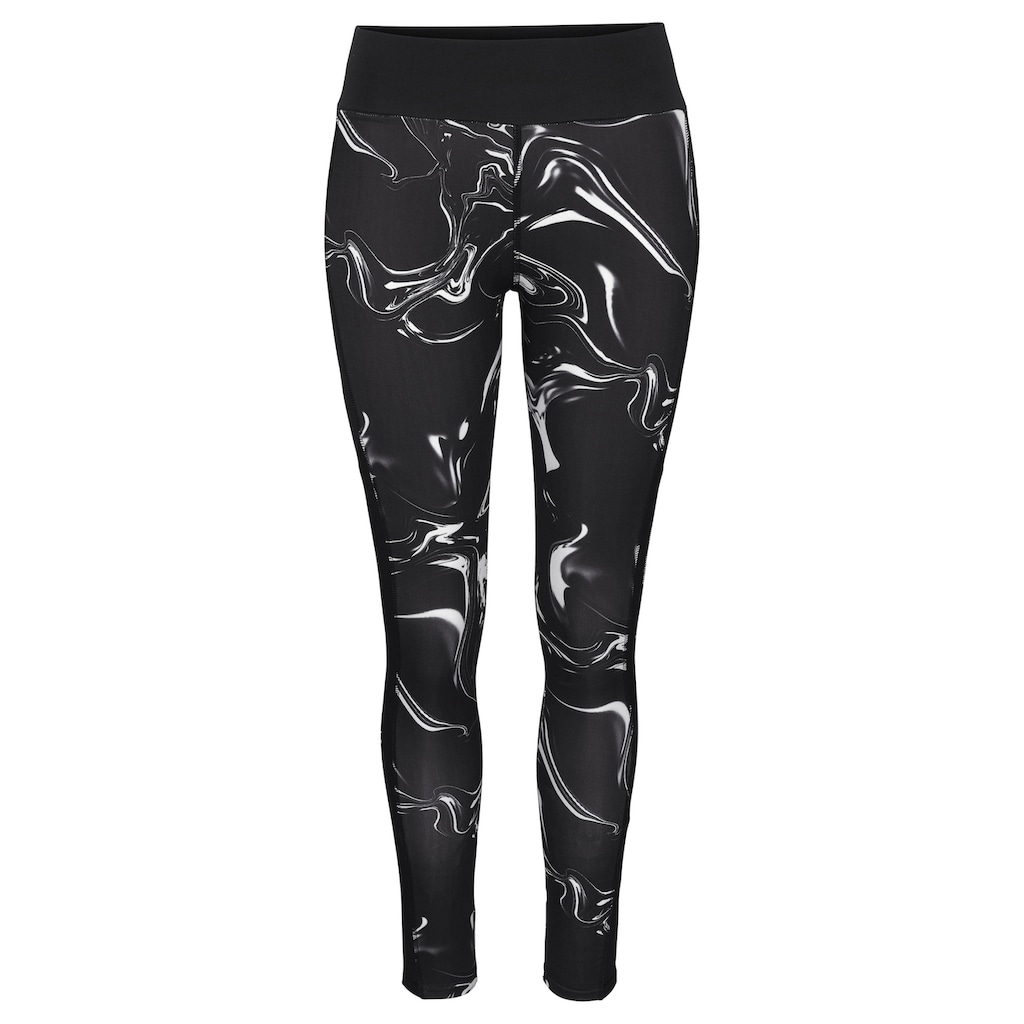 LASCANA ACTIVE Leggings »Black Marble«, mit Mesh