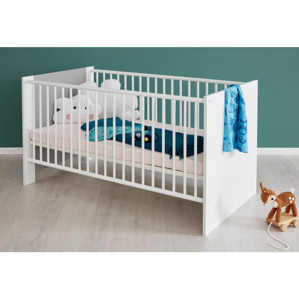 Babyzimmer-Komplettset »Lissabon«, (Set, 3 tlg.), Bett + Wickelkommode + 2 trg. Schrank