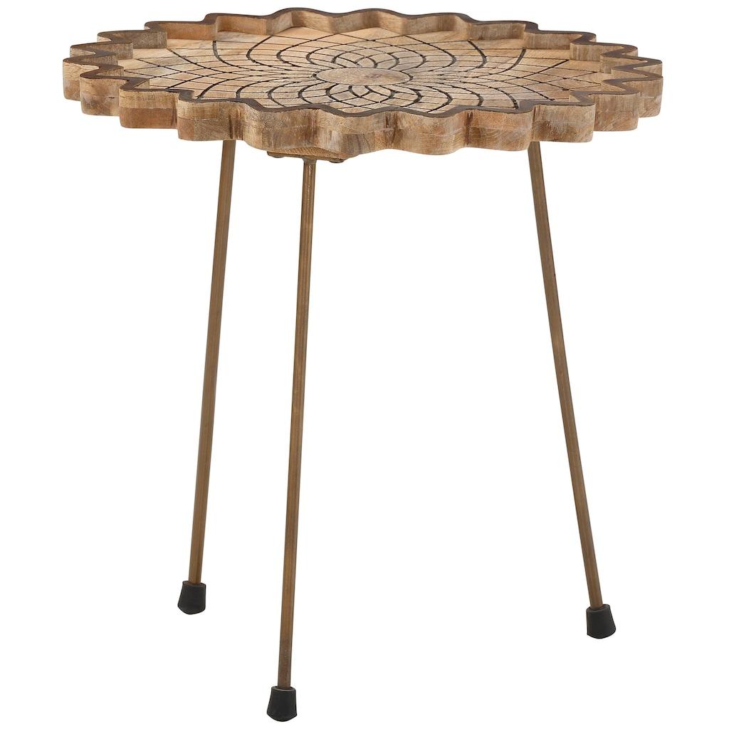 Home affaire Couchtisch »Camelia«, aus schönem, massivem Mangoholz und einzigartigen Fräsungen auf der Tischplatte