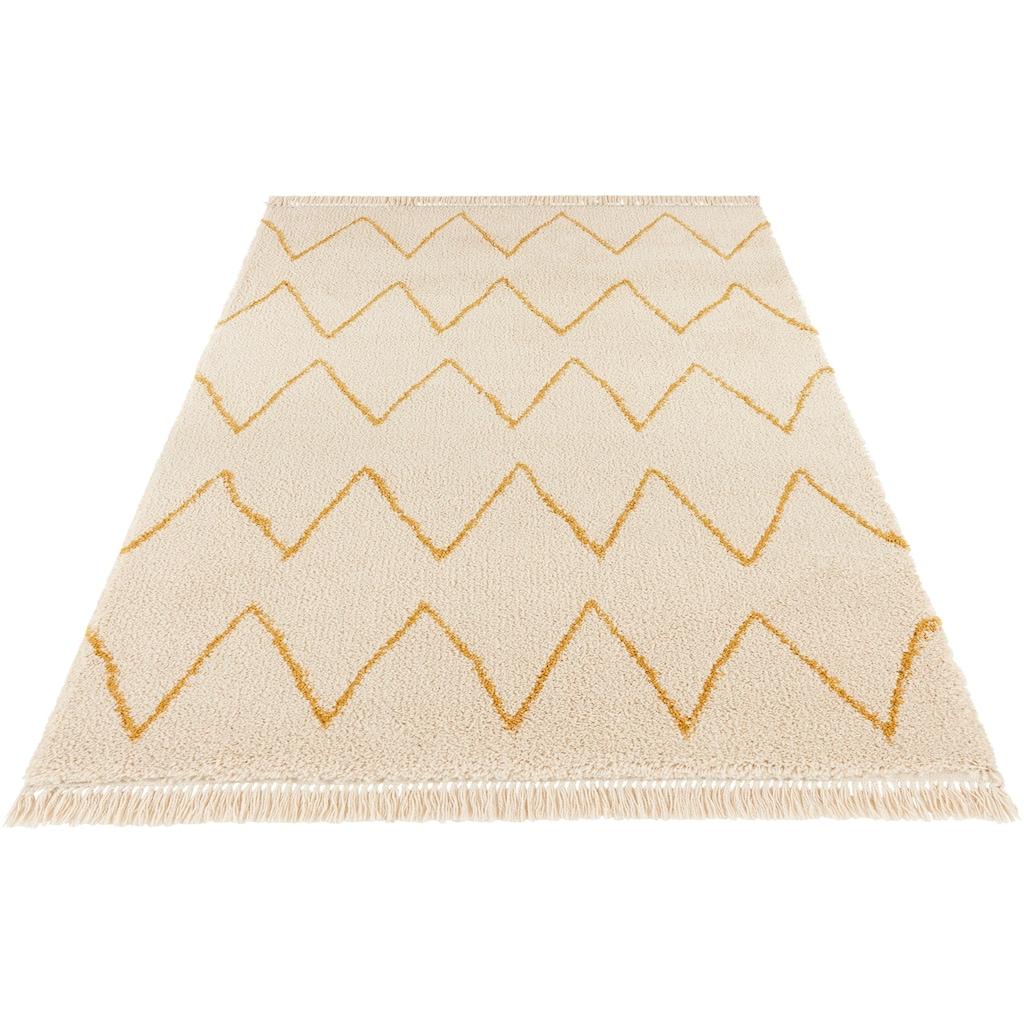 MINT RUGS Hochflor-Teppich »Ruby«, rechteckig, 35 mm Höhe, pastell Farben mit Fransen