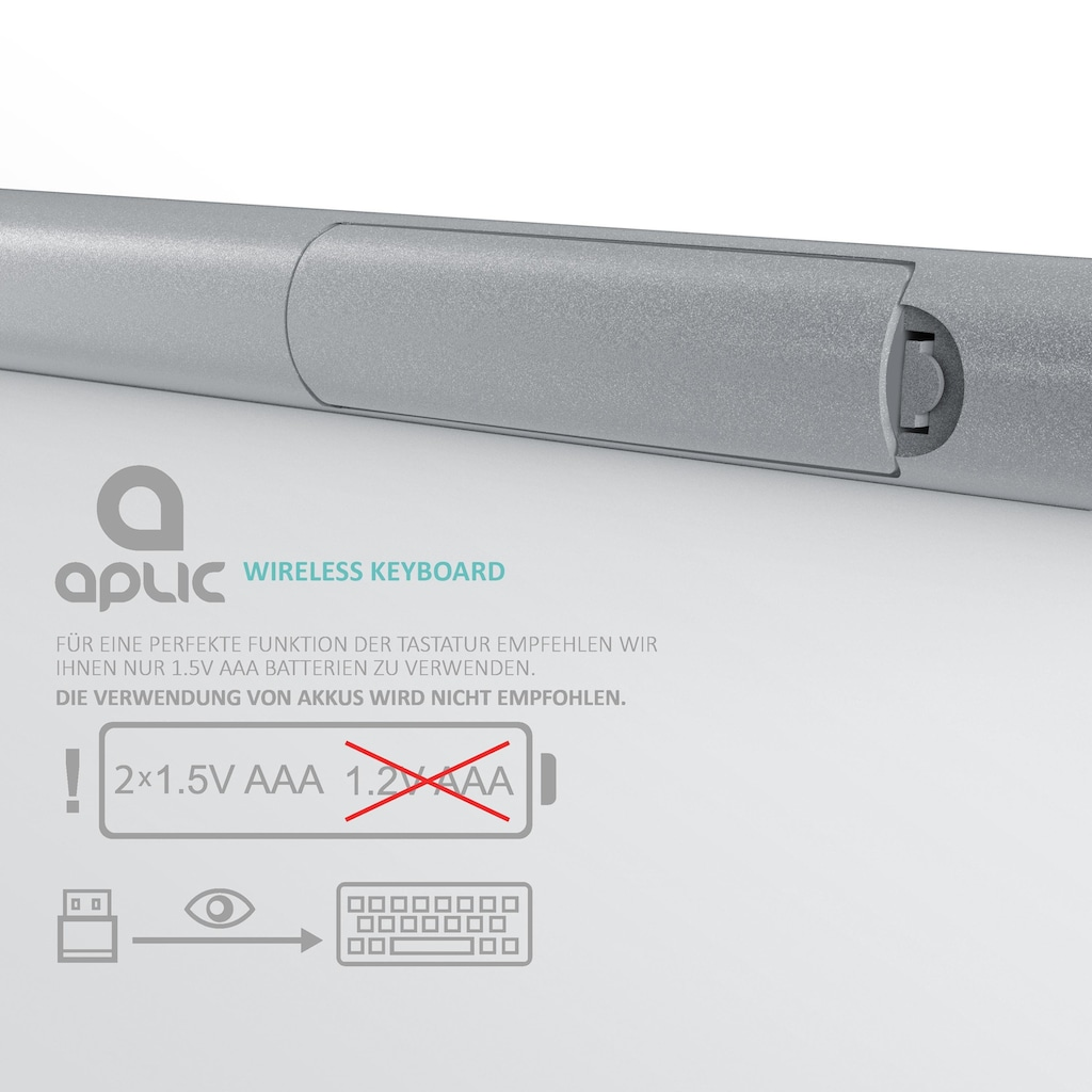 Aplic kabellose Tastatur mit Apple Tastaturlayout