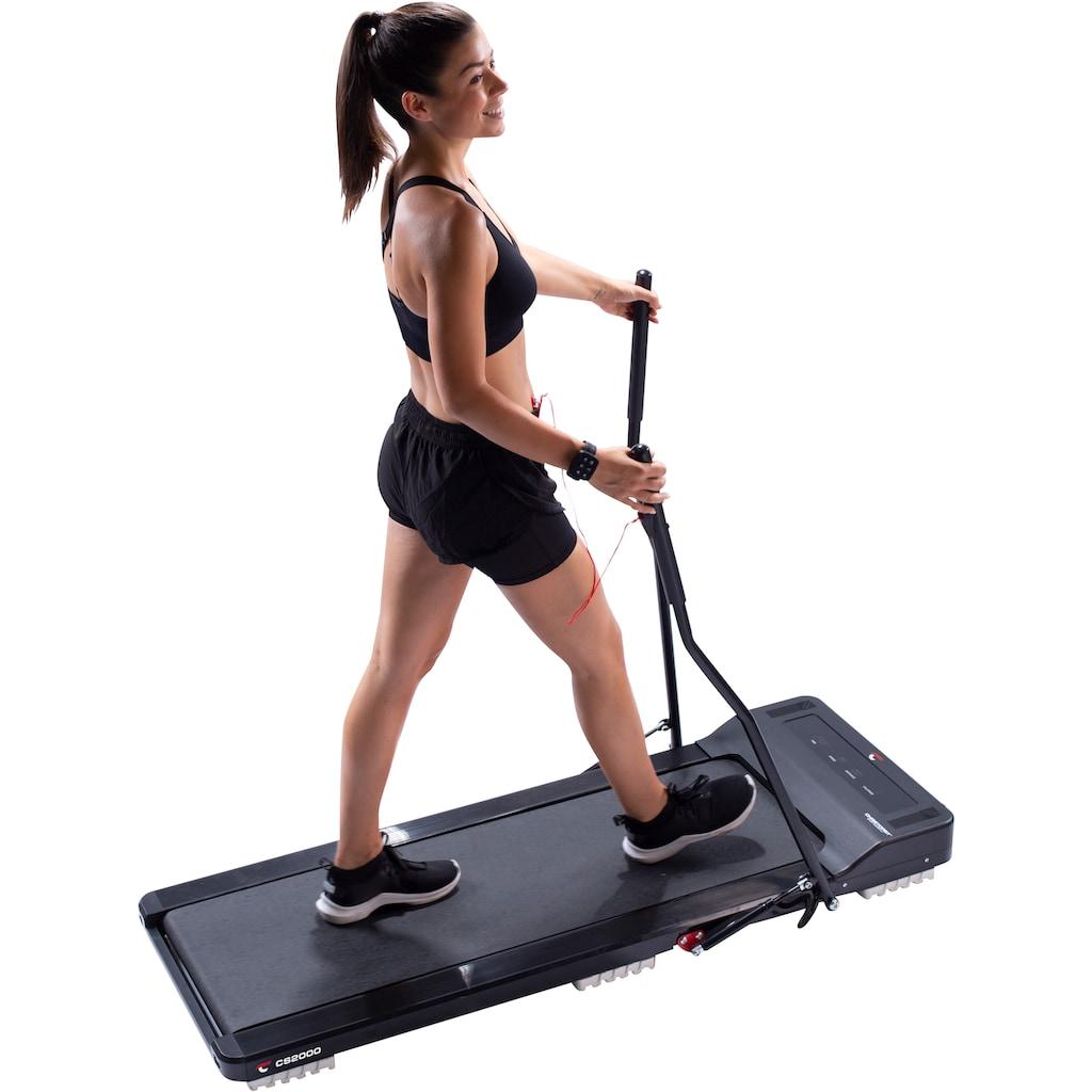 Christopeit Sport® Laufband »Laufband CS 2000«, ultraflach, nach dem Training leicht verstaubar - mit 2 Walking Stöcken