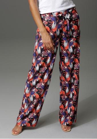 Aniston CASUAL Palazzohose, mit Paradiesvögeln, Blättern und Blüten bedruckt kaufen