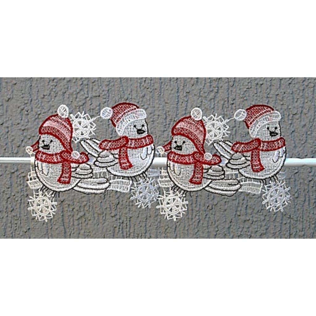 """Stickereien Plauen Scheibengardine »Wintervögel«, Fensterdekoration """"Wintervögel"""""""