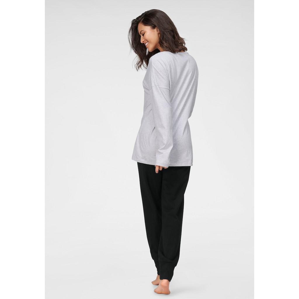 Schiesser Pyjama, mit Frontdruck