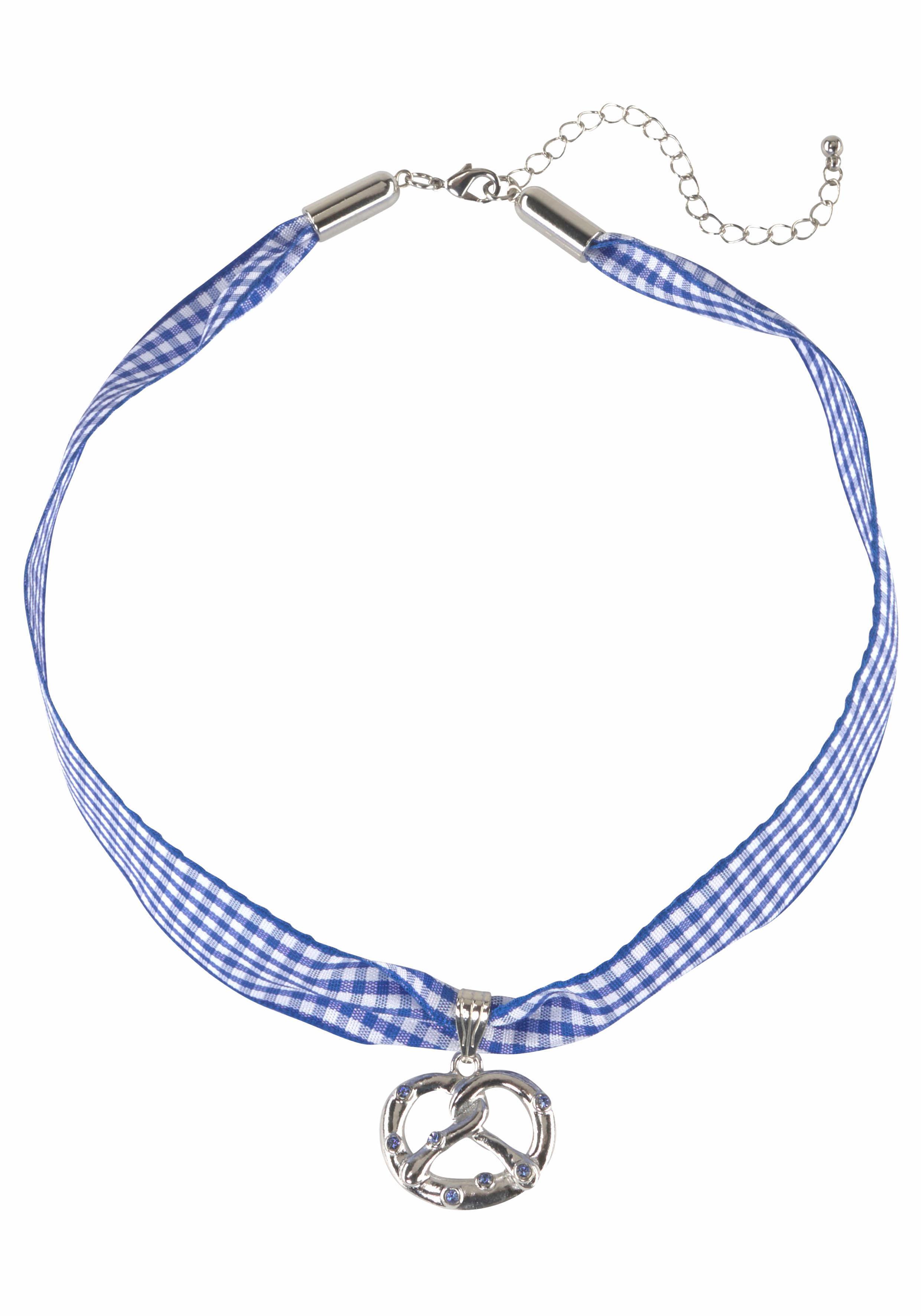 J.Jayz Halsband »kariert, mit Brezelanhänger blau/weiß, Wiesn, Trachten«   Schmuck > Halsketten > Halsbänder   J. JAYZ