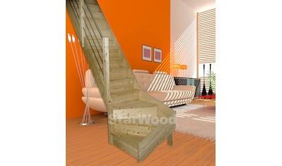 STARWOOD Raumspartreppe »Korfu«, geschl. Stufen, 1/4 links gewendelt, Holz - Edelstahlgel. li kaufen