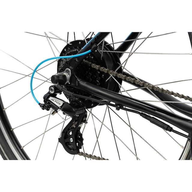 LLobe E-Bike »Devron E-Bike Trekking black/blue«, 24 Gang Shimano Kettenschaltung, Heckmotor 250 W (mit Akku-Ladegerät)