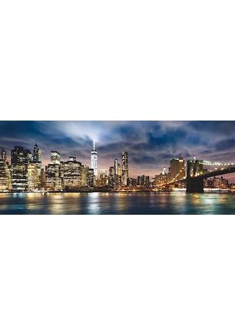 Places of Style Glasbild »New York City  -  Sonnenaufgang über Manhattan/Brooklyn Bridge USA« kaufen