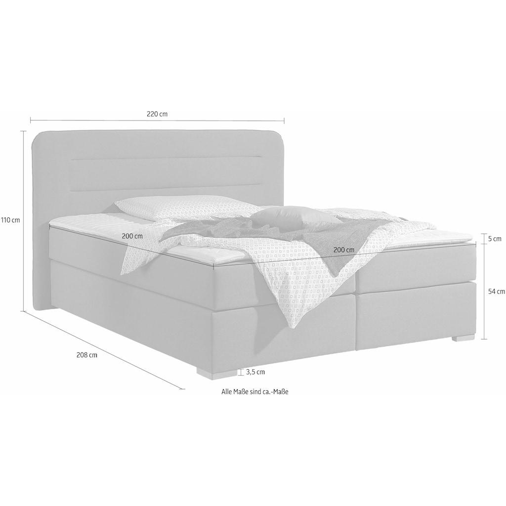 Home affaire Boxspringbett »Manschester«, 5 Breiten, 3 Ausführungen, 2 Härtegraden, Topper, Steppung