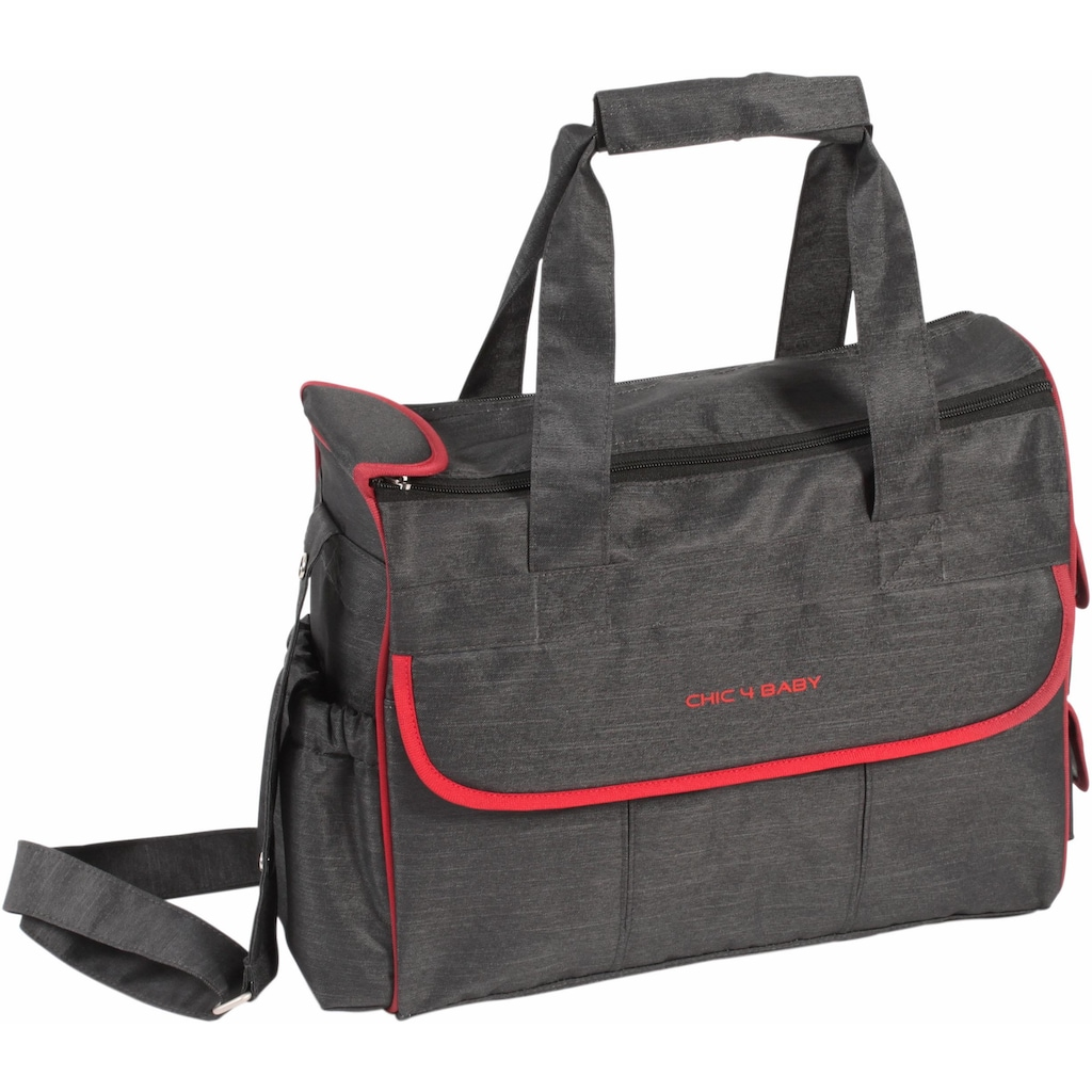 CHIC4BABY Wickeltasche »Luxury, jeans black«, inklusive Wickelunterlage und Thermo-Flaschen-Bag