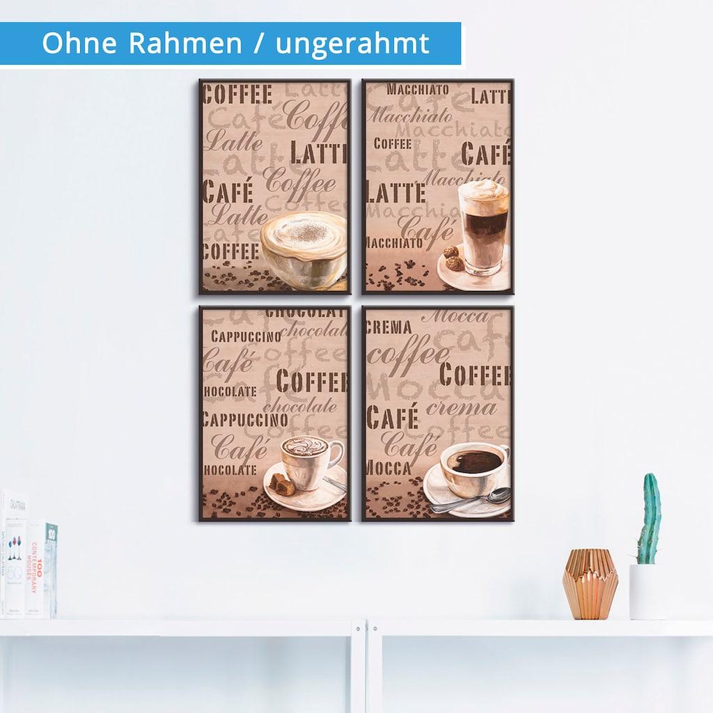 Artland Poster »Milchkaffee Latte MacchiatoChocolate«, Getränke, (4 St.), Poster, Wandbild, Bild, Wandposter