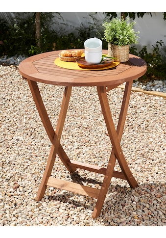 MERXX Gartentisch »Borkum«, Eukalyptusholz, klappbar, Ø 65 cm, braun kaufen