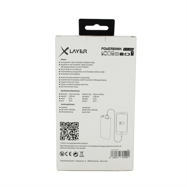 XLAYER Zusatzakku »Powerbank X-Flash Black 5200mAh Smartphones/Tablet«