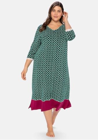 Sheego Nachthemd, mit Alloverdruck und Spitze am Ärmel kaufen