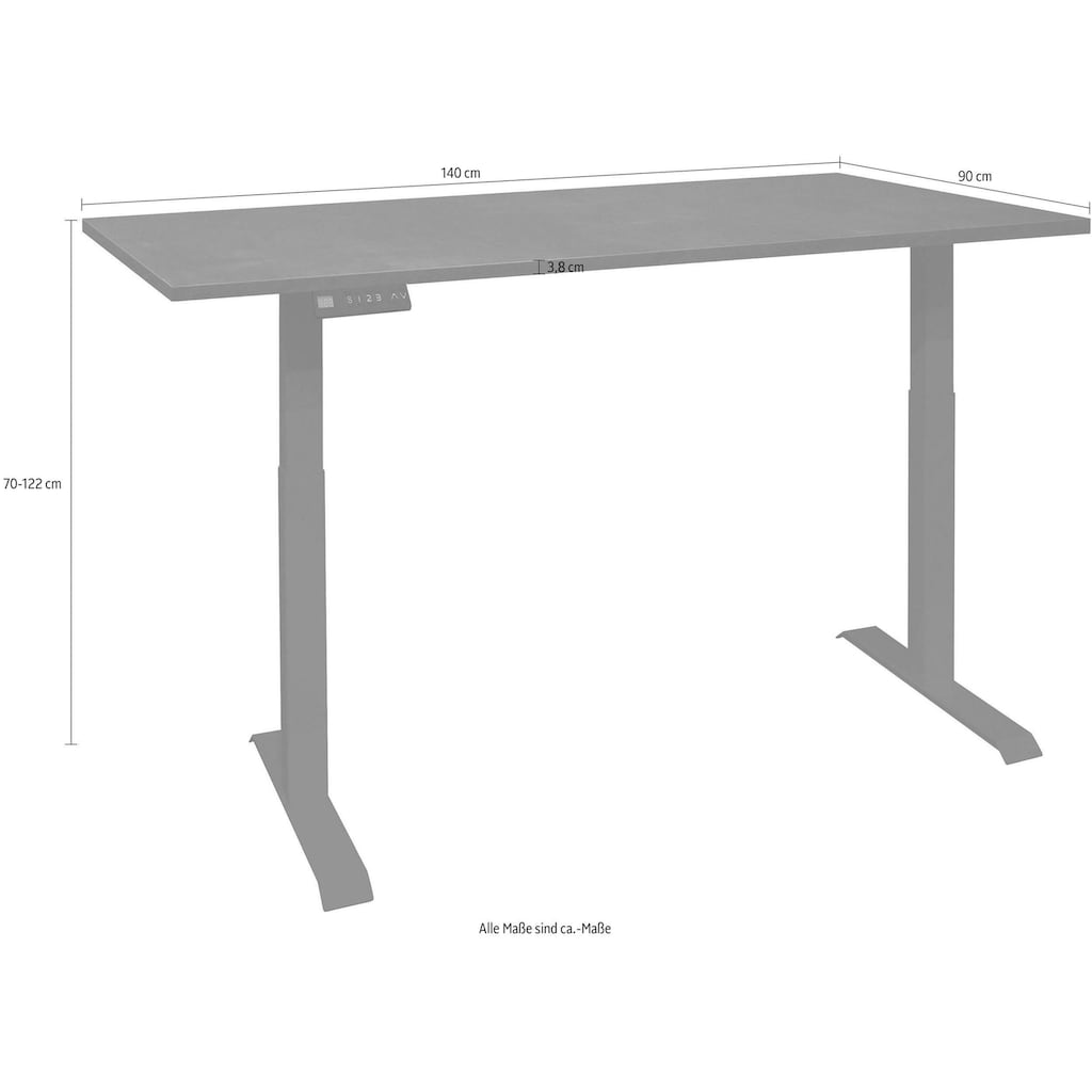 Schreibtisch »Big System Office«, Breite 140 cm, elektrisch höhenverstellbar