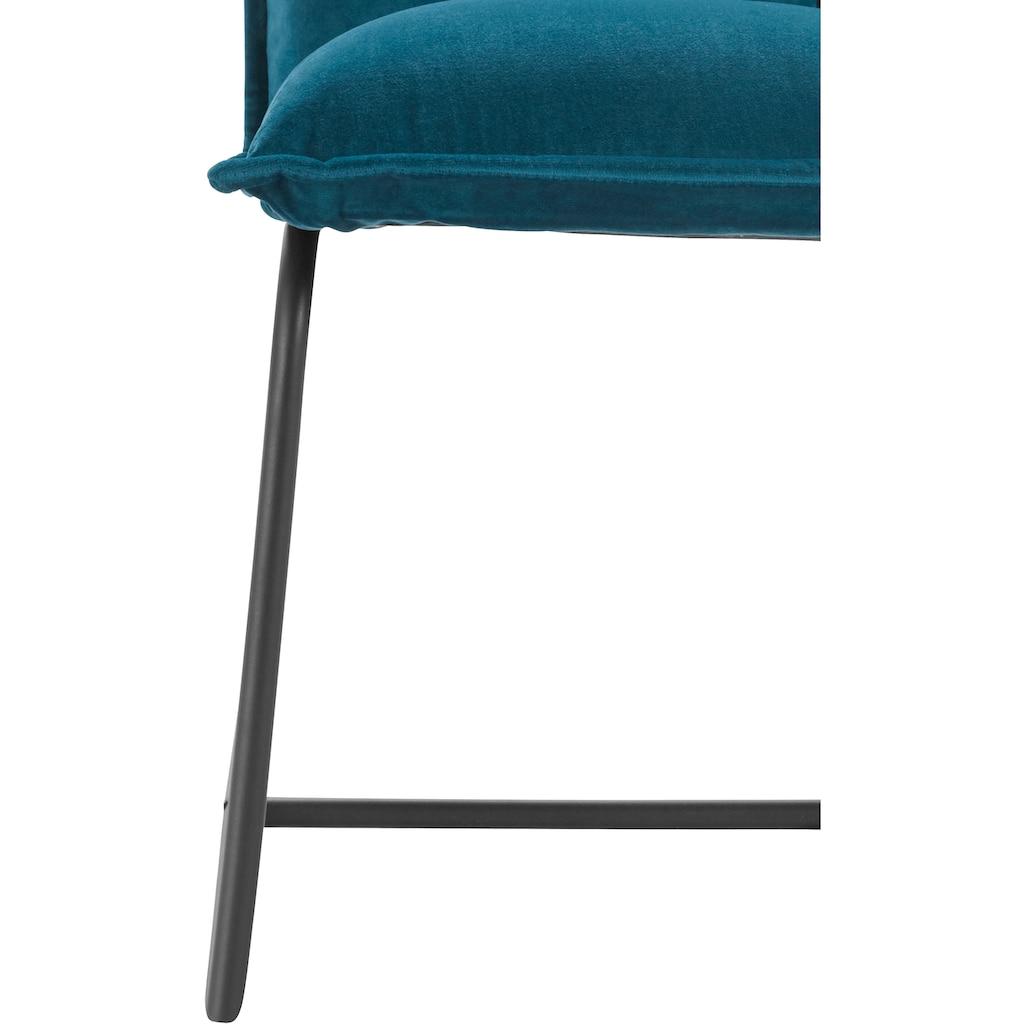 INOSIGN Sessel »Sheffield«, mit einem schönen weichen Velvet Bezug und einem schwarzen Metallgestell, Sitzhöhe 43 cm