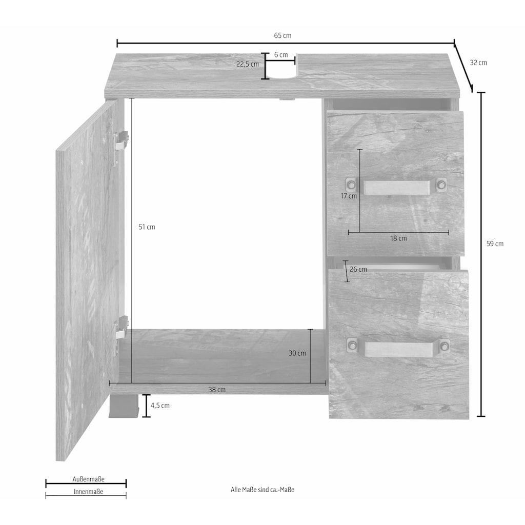 Schildmeyer Waschbeckenunterschrank »Milan«, Breite 65 cm, mit 1 Tür & 2 Schubladen, Tür mit Anschlagdämpfern