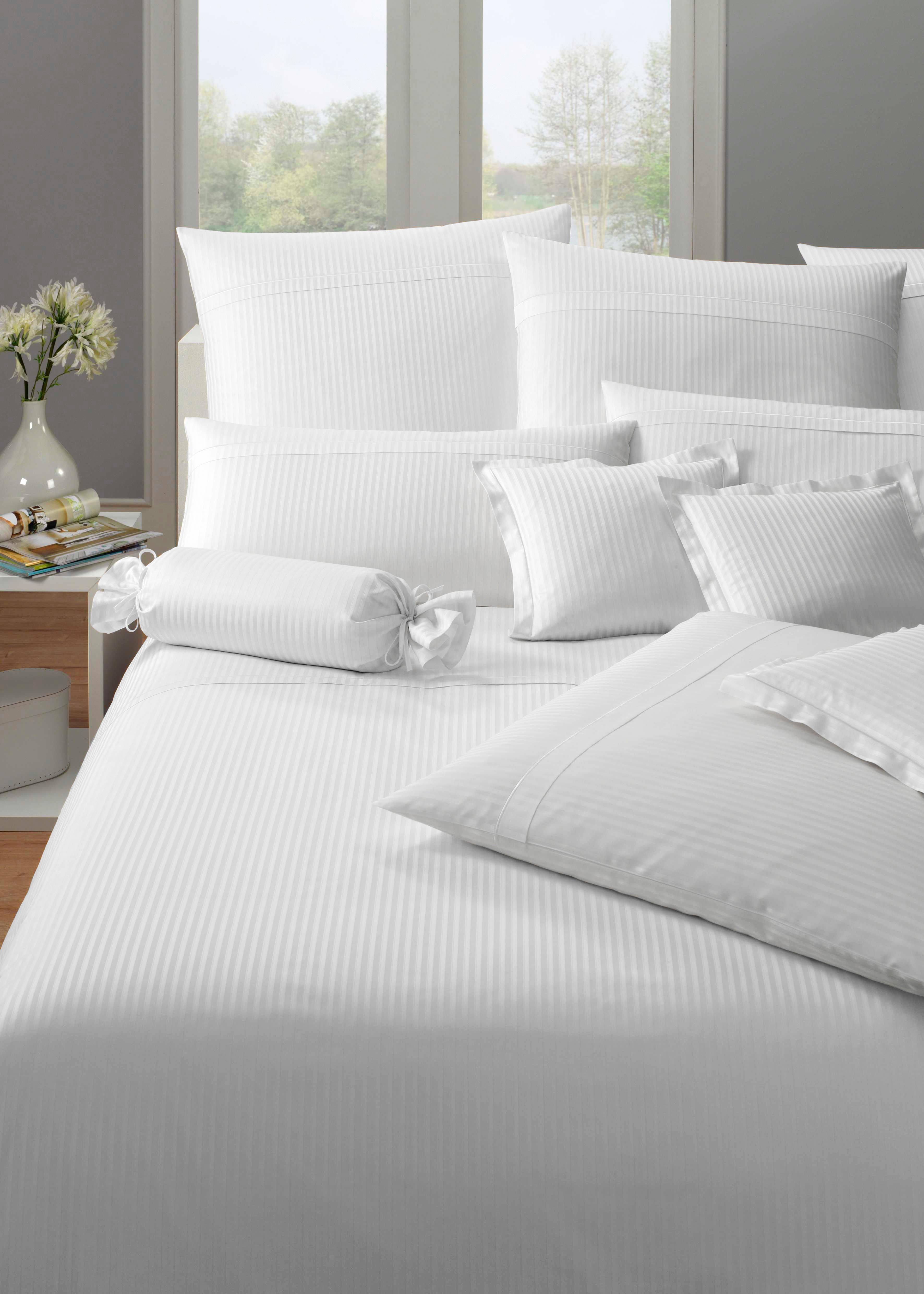 Bettwäsche »Milano«, Elegante | Heimtextilien > Bettwäsche und Laken > Bettwäsche-Garnituren | Weiß | Jacquard - Satin - Damast - Baumwolle | ELEGANTE