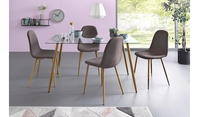 my home Essgruppe »Miller«, (Set, 5 tlg.), Eckiger Glastisch mit 4 Stühlen (Webstoff) kaufen