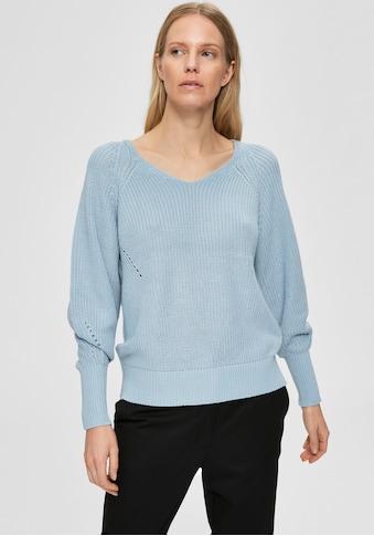 SELECTED FEMME V-Ausschnitt-Pullover »SLFEMMY«, mit dekorativer Lochstickerei kaufen