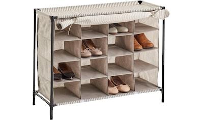 Zeller Present Schuhschrank »Stripes«, 16 Fächer, Vlies/Metall, beige kaufen