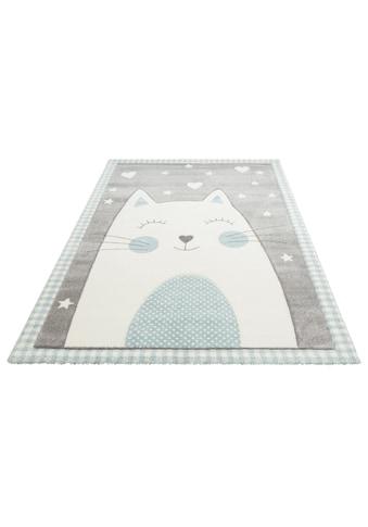 Lüttenhütt Kinderteppich »Lunis«, rechteckig, 13 mm Höhe, Motiv Katze, Pastellfarben kaufen