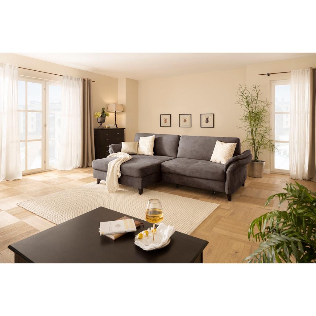 DELAVITA Ecksofa »Avatar«, auch mit Bettfunktion, Bettkasten und elektrischer Vorziehfunktion, in 4 Bezugstoffen und vielen Farben, Recamiere wahlweise links oder rechts bestellbar