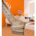 STARWOOD Raumspartreppe »Korfu«, geschl. Stufen, 1/4 links gewendelt, Holzgeländer links