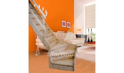 STARWOOD Raumspartreppe »Korfu«, geschl. Stufen, 1/4 links gewendelt, Holzgeländer links kaufen