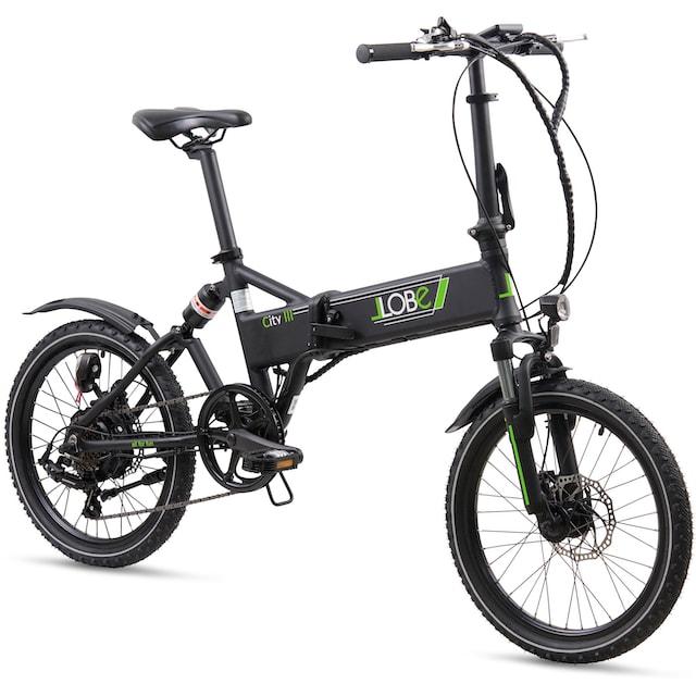 LLobe E-Bike »City III schwarz«, 7 Gang Shimano Kettenschaltung, Heckmotor 250 W